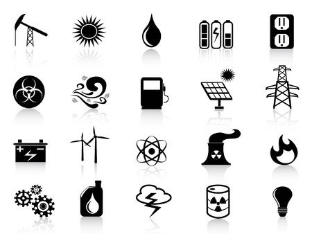 sonnenenergie: mehrere schwarze Energie Symbole f�r Design