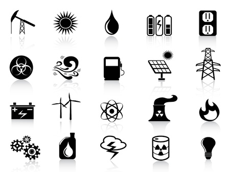 energia renovable: varios iconos de la energía negro para el diseño Vectores