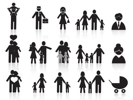 ser padres: conjunto de iconos de negro de la familia feliz para el dise�o