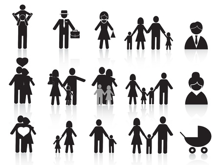 black family: set of black happy family icons for design