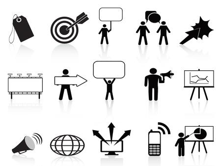icônes de marketing noirs fixés pour la conception marketing d'affaires