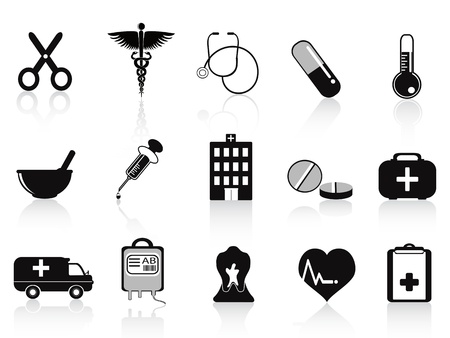 mortar and pestle medicine: black medical icons set for medical design Illustration