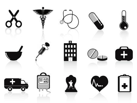 hilfsmittel: schwarze medical icons f�r medizinische Design setzen Illustration