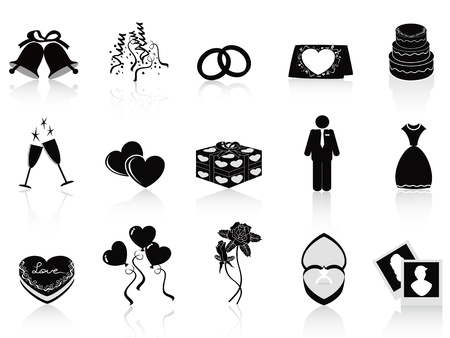 black wedding icons set for wedding design Vector