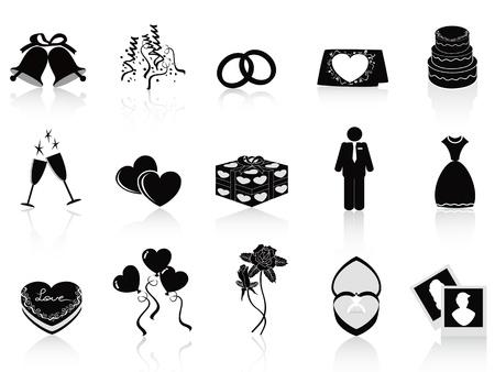 wedding cake isolated: black wedding icons set for wedding design