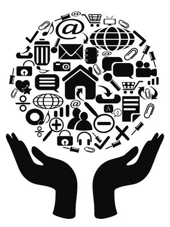holding globe: icone mano nella mano per il web design