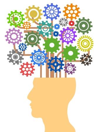 el concepto de la cabeza con el árbol de engranajes Ilustración de vector