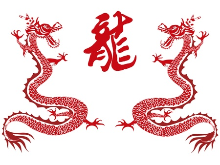 chinese dragon and chinese character for chinese new year Vector