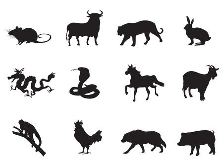 year of rooster: iconos chino hor�scopo conjunto para el dise�o del A�o Nuevo Chino