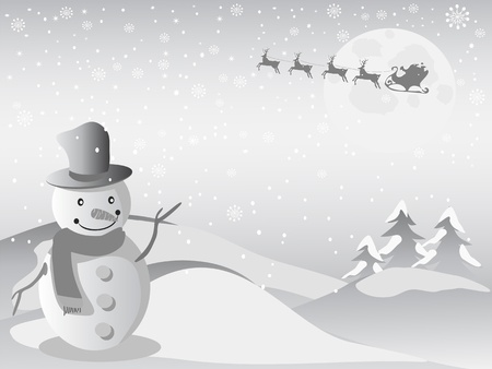 the Christmas background of santa flying in the sky and snowman standing on the front Vector