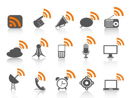 omroep: geïsoleerde communicatie icoon met oranje RSS-symbool op witte achtergrond Stock Illustratie