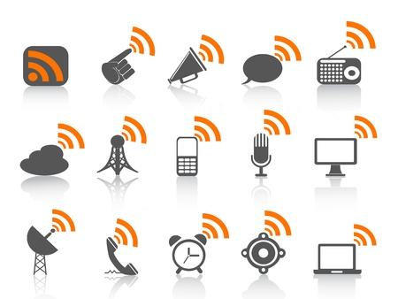 isolated communication icon with orange rss symbol on white background
