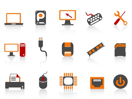computer equipment icon color series on white background Vector