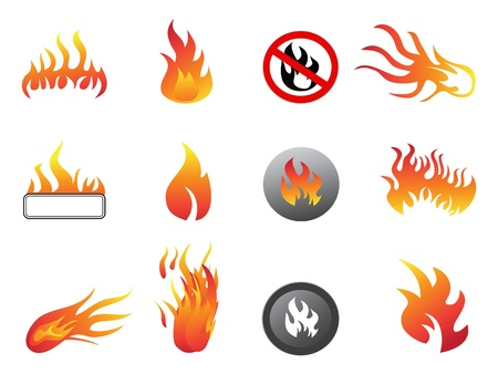 isolated flame icon set on white background Stock Vector - 11663312