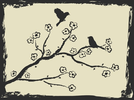 black cherry tree: spring background with birds and plum blossom