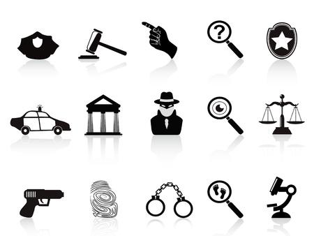 investigacion: iconos aislados de la ley y el delito establecidos en el fondo blanco Vectores