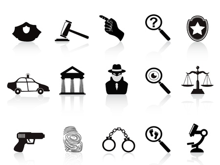 isolated law and crime icons set on white background