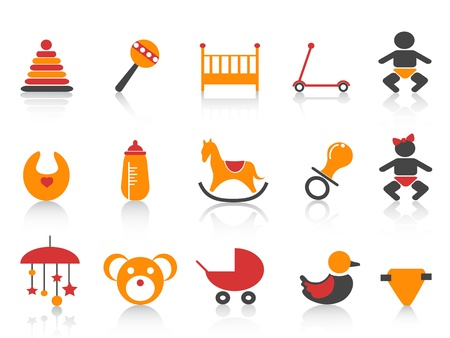 cute baby girls: simple baby icons set with orange ,red and black color