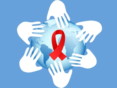 hands around AIDS symbol of globe on blue background Vector