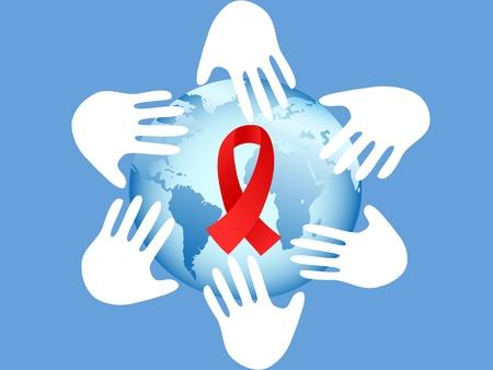 mains autour du globe symbole du sida sur fond bleu Vecteurs