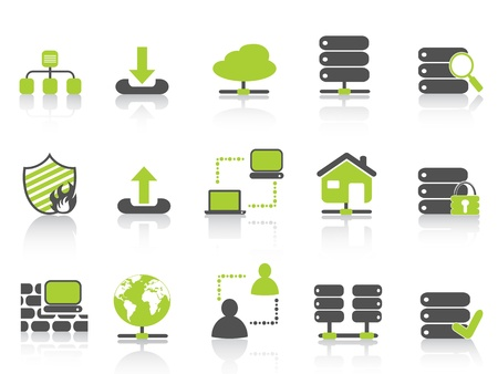 server: isolated green network server hosting icons on white background