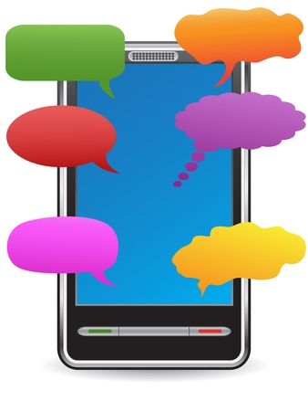 color speech bubbles around the PDA Vector