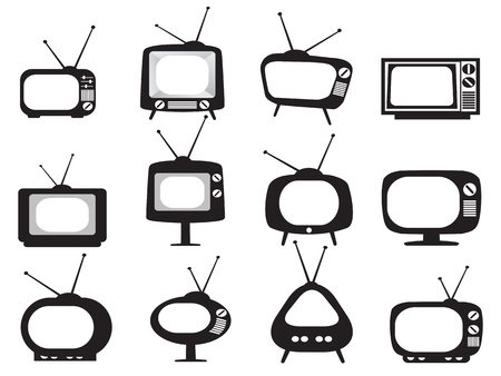 black appliances: isolated black retro tv icons set on white background