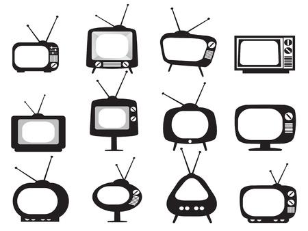 lokalisierte schwarze Retro- Fernsehikonen stellte auf weißen Hintergrund ein