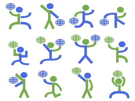 a group of symbol people lifting the globe in different pose Vector