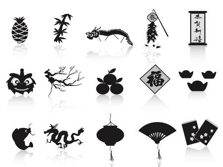 fruit du dragon: isol�s noirs chinois ic�nes ann�e, de nouvelles sur fond blanc