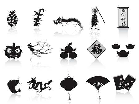 lucky bamboo: isolated black chinese new year icons on white background  Illustration