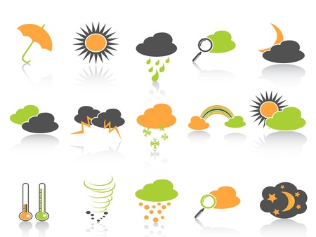 simple style of weather icons set in colors Vector