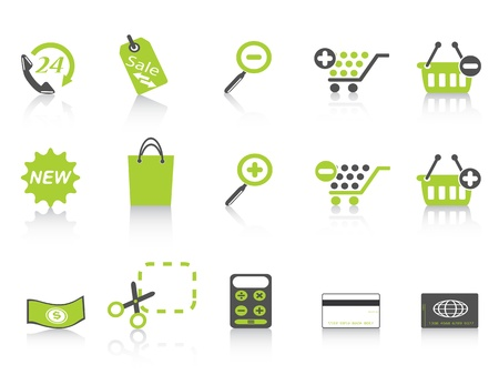 green simple style of shopping icon on white background Vector