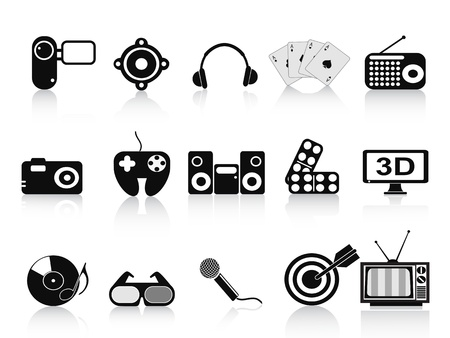 home cinema: isolated black home entertainment icons set on white background