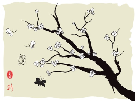 chinese painting of spring plum blossom Vector