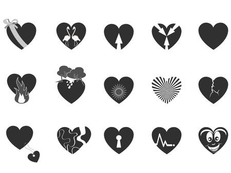 발렌타인 데이에 대한 몇 가지 블랙 하트 무늬 아이콘 일러스트