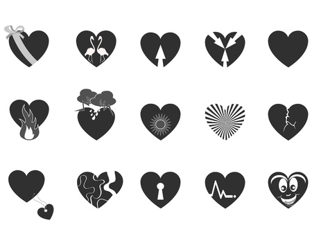 romantic heart: some black heart pattern icon for Valentine