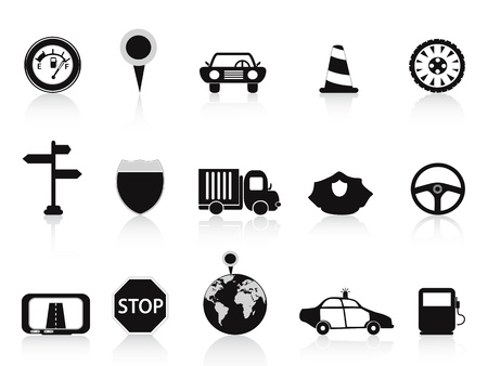 traffic officer: isolated black traffic icons from white background