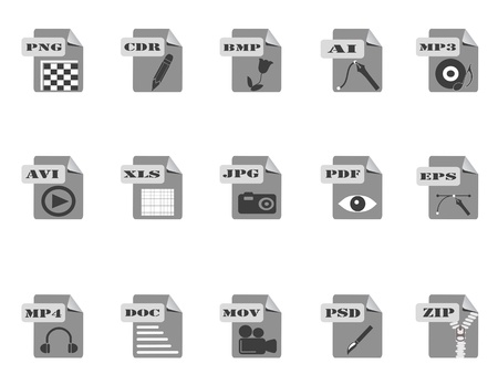 psd: gray files icon for web design Illustration
