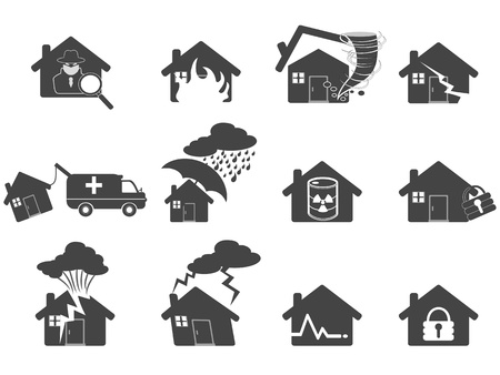 damaged roof: isolated house disaster icon from white background