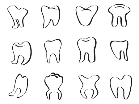 abstract tooth icon on white background Vector