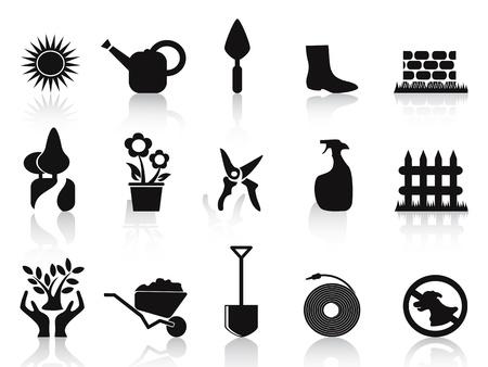aislados iconos jardín negros establecidos en el fondo blanco