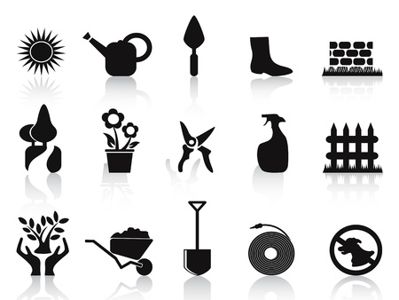 gardening hose: isolated black garden icons set on white background
