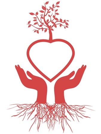 붉은 마음 나무를 잡고 손의 상징