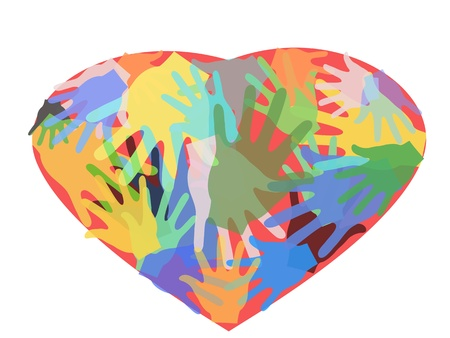 acceptance: many hands in one red  heart Illustration