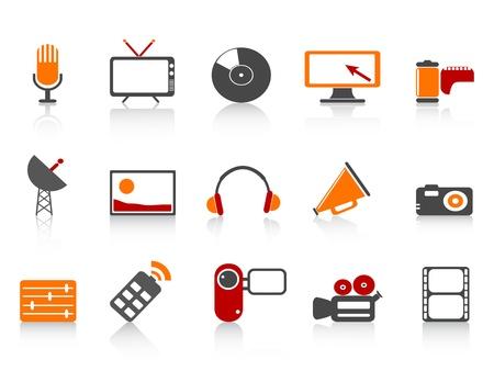 aislado medios simples herramientas de conjunto de iconos en el fondo blanco