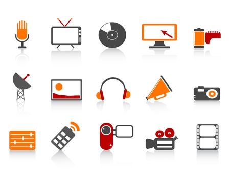 tv remote: isolated simple media tools icon set on white background