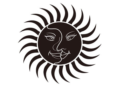 cartoon style of sun and moon face Vector