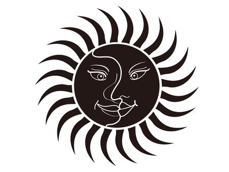 celestial: cartoon style of sun and moon face Illustration