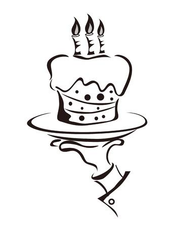 serveur avec plateau: le contour de la main tenant le plateau de g�teau Illustration